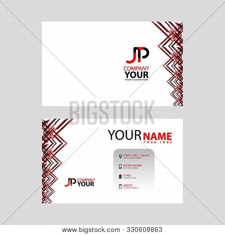The Jp Logo On The Red Black Business Card With A Modern Design Is Horizontal And Clean. And Transpa