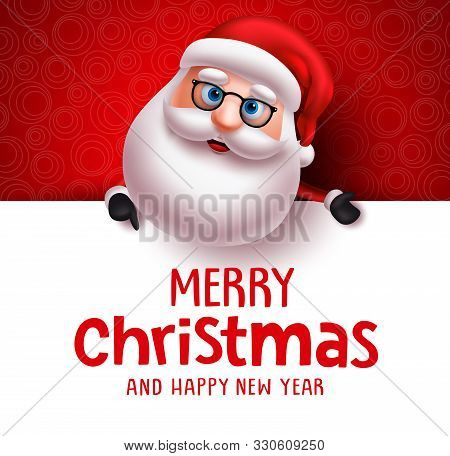 Santa Claus Vector Christmas Greeting Card Template. Santa Claus Character Holding White Board With