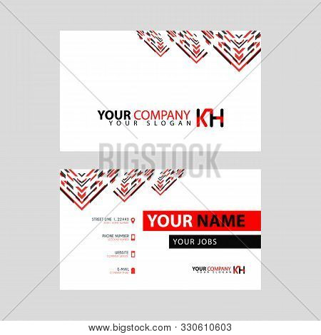 The New Simple Business Card Is Red Black With The Kh Logo Letter Bonus And Horizontal Modern Clean
