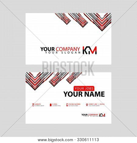 The New Simple Business Card Is Red Black With The Km Logo Letter Bonus And Horizontal Modern Clean