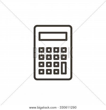 Calculator Icon. Vector Thin Line Illustration For Mathematics, Economics, Algebra, Business, Calcul