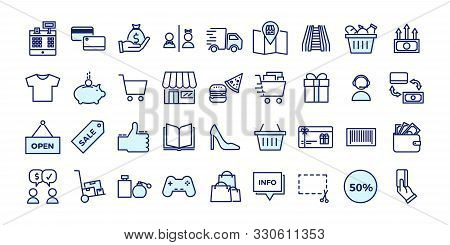Icons Related With Commerce, Shops, Shopping Malls, Retail. Vector Illustration Filled Outline Desig