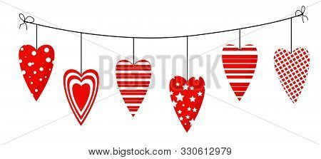 Element On A White Background. For Valentines Day. Hearts On A Rope. Decoration For Website, Banner
