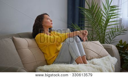 Portrait Of A Thinking Woman. Lonely Sad Woman Deep In Thoughts