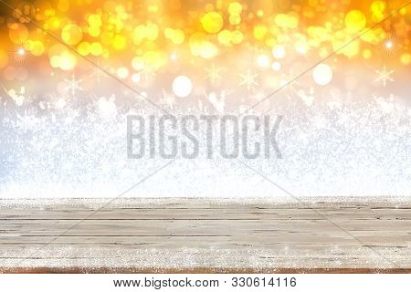 Empty Table Top Or Wood Floor On Abstract Christmas Background. Empty Rustic Wooden Table Top With S