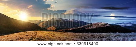 Wonderful Panorama Of Mountain Ridge In Autumn. Gorgeous Landscape Day And Night Time Change With Ro