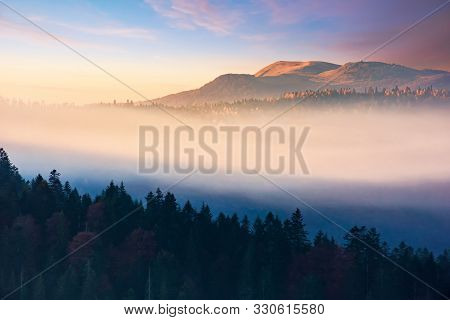 Foggy Dawn In Mountains. Amazing Nature Scenery In Autumn. Glowing Mist Among The Hills. Magic Momen