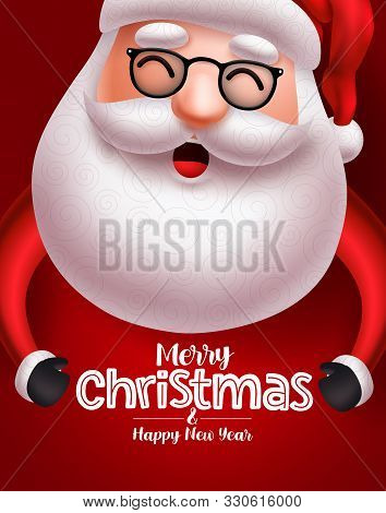Santa Claus Christmas Character Vector Concept. Santa Claus With Long Beard Happy Talking With Merry