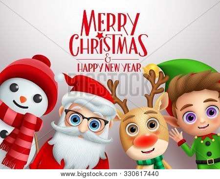 Christmas Characters Vector Background Template. Merry Christmas And Happy Ne Year Greeting Text Wit