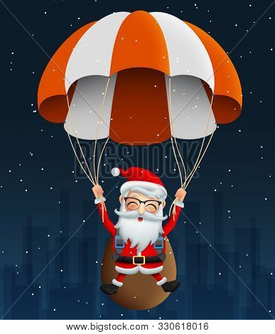 Santa Claus Character In Para Suit Vector Background Design. Cute Christmas Character Santa Claus Fl