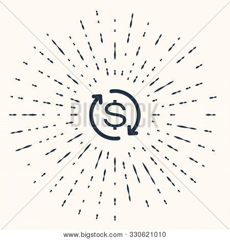 Grey Return Of Investment Icon Isolated On Beige Background. Money Convert Icon. Refund Sign. Dollar