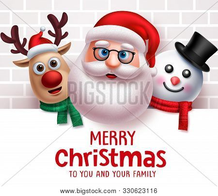 Santa Claus Christmas Characters Vector Background Template. Merry Christmas Greeting Text From Sant
