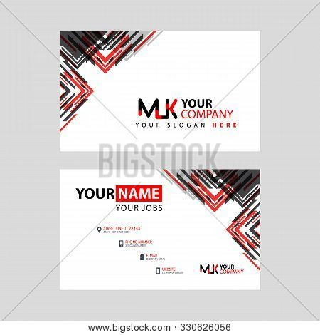 The Mk Logo Letter With Box Decoration On The Edge, And A Bonus Business Card With A Modern And Hori
