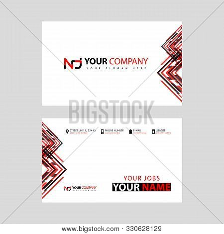 Business Card Template In Black And Red. With A Flat And Horizontal Design Plus The Nj Logo Letter O