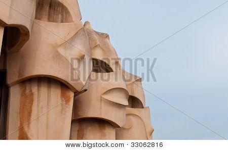Casa Mila' - Chimney Detail - Barcelona, Spain.