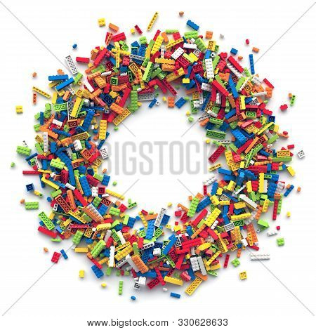 Circle Frame Of Colored Toy Bricks With Place For Your Content