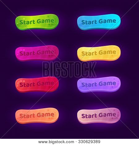 Set Of 8 Gradient Buttons For Arcade Video Games.