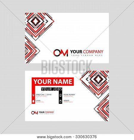 Letter Om Logo In Black Which Is Included In A Name Card Or Simple Business Card With A Horizontal T