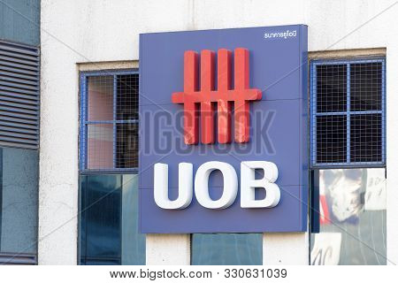 Bangkok, Thailand - Febuary 12, 2017: United Overseas Bank Facade Located In Bangkok City