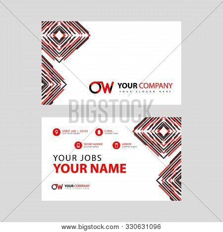 Letter Ow Logo In Black Which Is Included In A Name Card Or Simple Business Card With A Horizontal T