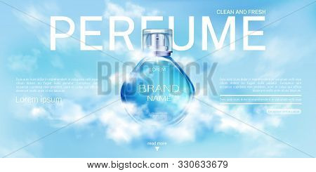 Perfume Spray Bottle In Cloudy Sky Landing Page Mock Up Banner. Glass Flask Mockup On Blue Heaven Ba