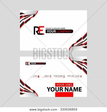 Logo Re Design With A Black And Red Business Card With Horizontal And Modern Design. Er Logo Design