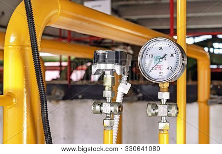 Manometer For Measuring Gas Pressure In A Gas Pipeline. Gas Boiler Room Equipment.