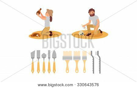 Man And Woman Scientists Working On Excavations, Archaeological Artifacts Vector Illustration