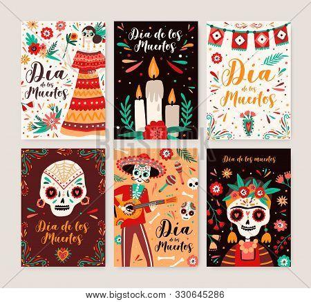 Dia De Los Muertos Posters Templates Set. Catrina Symbol In National Dress. Cartoon Human Skeleton W