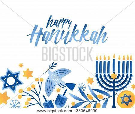 Happy Hanukkah Greeting Card Vector Template. Jewish Holiday Celebration Postcard Design. Menorah Ca