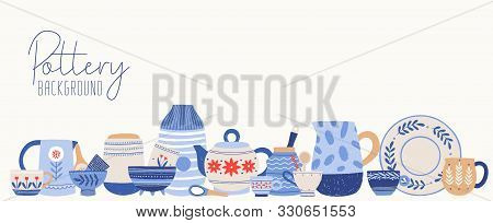 Handmade Pottery Flat Vector Illustration. Clean Dinnerware Background. Beautiful Tableware Isolated