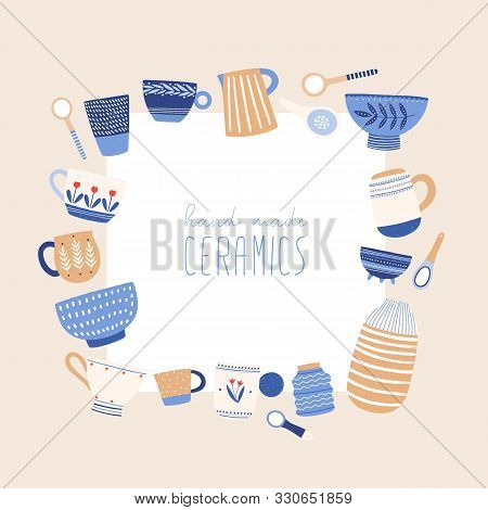 Handmade Ceramics Flat Vector Illustration. Handicraft Pottery Social Media Banner Design With Place