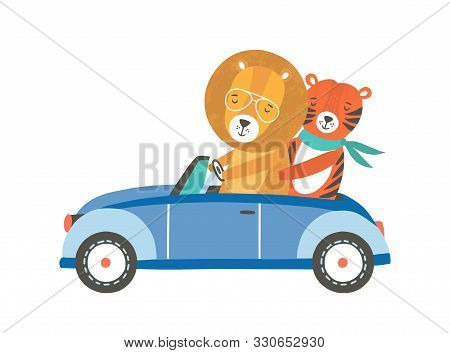 Funny Lion And Tiger In Car Flat Vector Illustration. Cute Friends Riding Automobile Cartoon Charact
