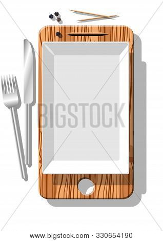 poster of Smartphone metaphore for different advertising concepts with cutting board, dish, black pepper, toothpicks, cutlery