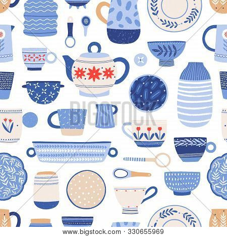Modern Ceramics Flat Vector Seamless Pattern. Handmade Dinnerware Background. Decorative Tableware A