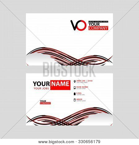 Horizontal Name Card With Vo Logo Letter And Simple Red Black And Triangular Decoration On The Edge.
