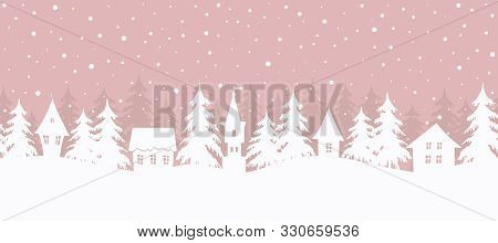 Winter Village. Christmas Background. Fairy Tale Winter Landscape. Seamless Border. There Are White