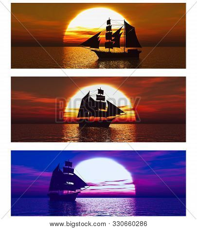 3d Rendering Of A Collection Of Three Banners With Merchant Ships Or Schooners At Sea At Sunset.