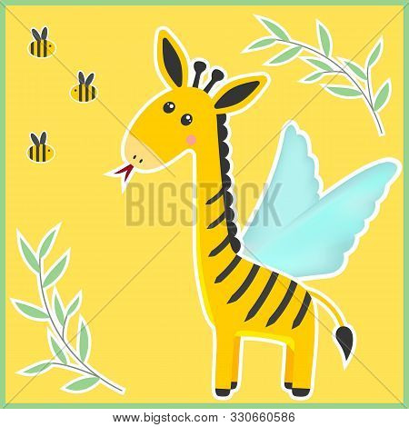 Unusual Fantastic Animal. Cute Miracle Beast Made Up Of Pieces Of Different Animals. Funny Creature