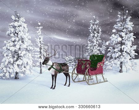 3d Rendering Of A Reindeer Pulling A Sleigh Waiting For Santa To Come. The Background Is A Snowy Win