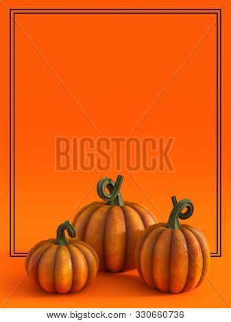 3d Rendering Of A Halloween Fall Pumpkin Greeting Card With Lots Of Copyspace To Write Your Message
