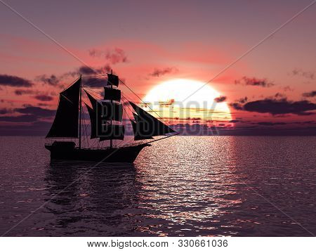 3d Rendering Of An Old Merchant Ship Or Schooner Out At Sea At Sunset.
