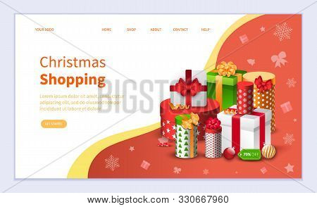 Christmas Shopping Vector, Winter Holidays Preparation. Tradition Of Gifts Exchanging. Buying Gifts
