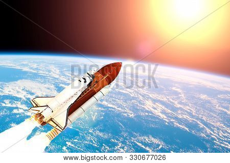 A Space Shuttle Takes Off Into Earth Orbit To Mission On Mars.elements Of This Image Furnished By Na