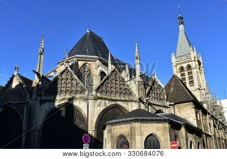 Saint Severin Flamboyant Gothic Church With Blue Sky. Paris, France.