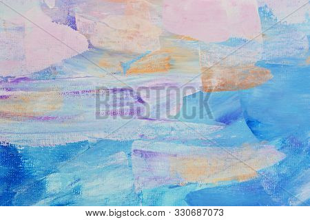 Abstract Art Background Hand Drawn Acrylic Painting. Brushstrokes Colorful Texture Acrylic Paint On