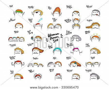 Woman Poser Hand Drawn Vector Set In Cartoon Comic Style Girls Feminism