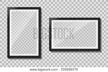 Black Templates Photo Frame With Glass Reflection Hanging On Wall. Empty Picture Album Layout. Desig
