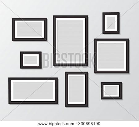 Black Templates Photo Frame Hanging On Wall. Empty Picture Album Layout. Design Photo Frame For Post