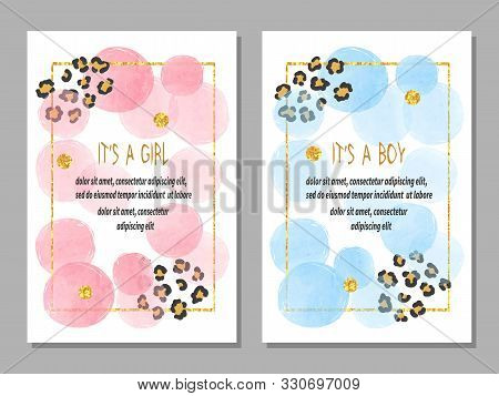 Baby Shower Card Set. Invitation Cards Design For Baby Shower Party - Girl And Boy